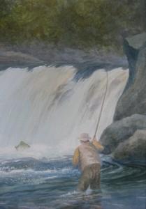 """At The Falls   13.5x9.5"""""""